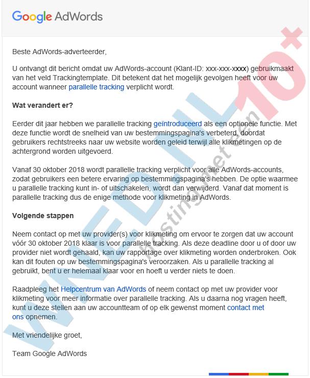 Parallelle tracking voor AdWords-account verplicht
