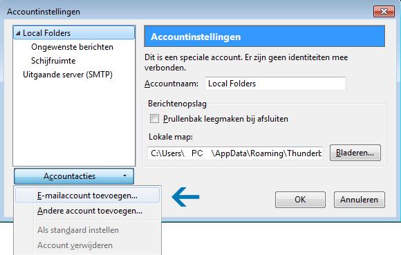 E-mailaccount instellen Thunderbird 2